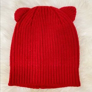 J.Crew Red Wool Mix Knit Beanie Hat With Ears